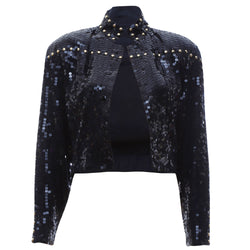 J3 | Bomber Jacket in Black and Gold Sequins