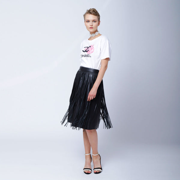 Sk4 | Fringe Midi Skirt in Black Rescued Leather