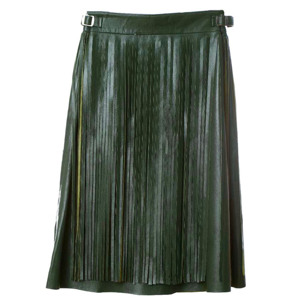 Sk4 | Fringe Midi Skirt in Green Rescued Leather
