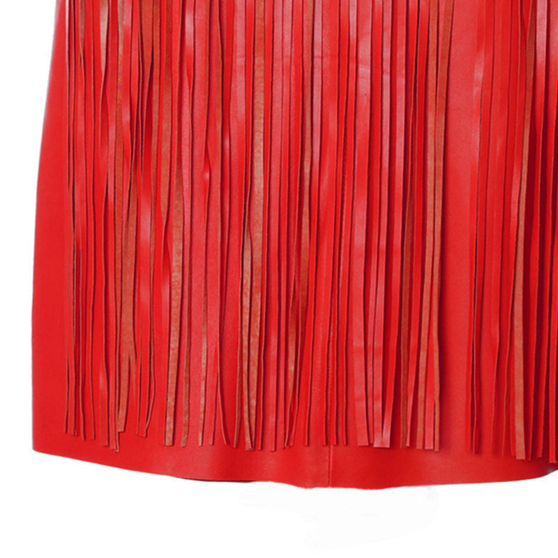 Sk4 | Fringe Midi Skirt in Red Rescued Leather