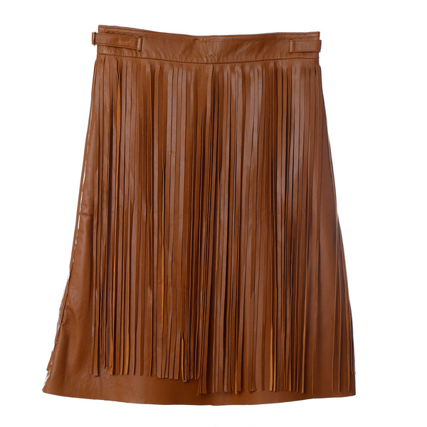Sk4 | Fringe Midi Skirt in Tan Rescued Leather