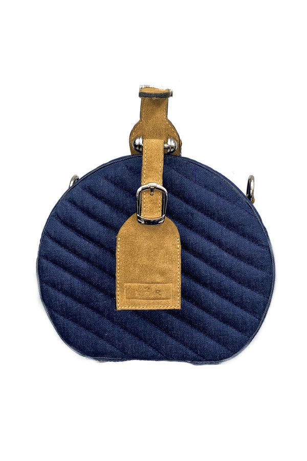 SC2 | Mini-Hat box scrabag: recycled blue denim and beige suede
