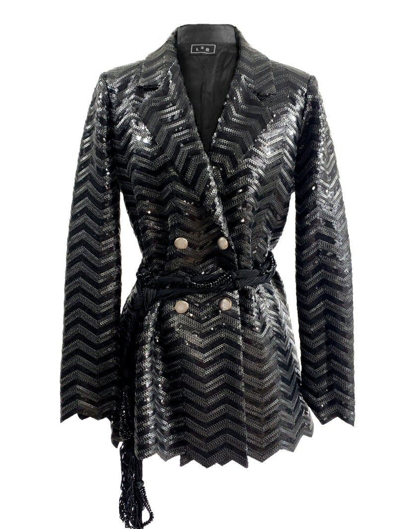 B2 | DOUBLE-B BLAZER: BLACK SEQUINS