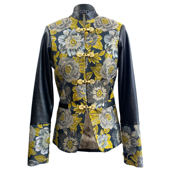 J2 | Leather and Brocade Military Jacket in Green and Black