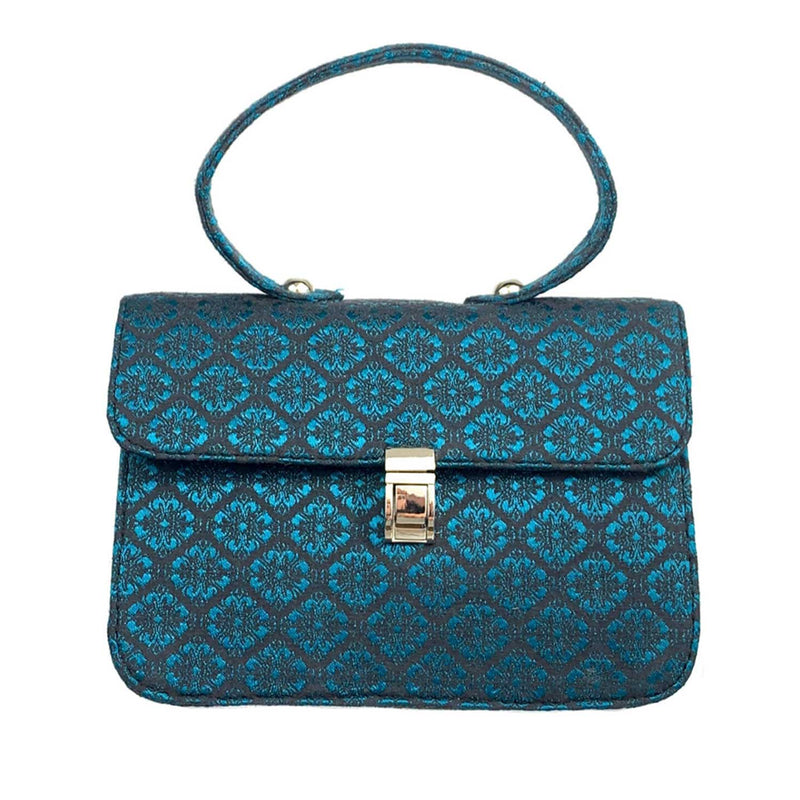 SC2 | Mini Satchel Shoulder Bag in Dark Teal and Black Brocade