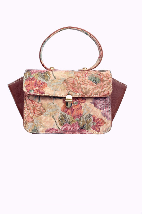 SC2 | nano satchel scrabag: floral spanish pink brocade and vegan camel leather