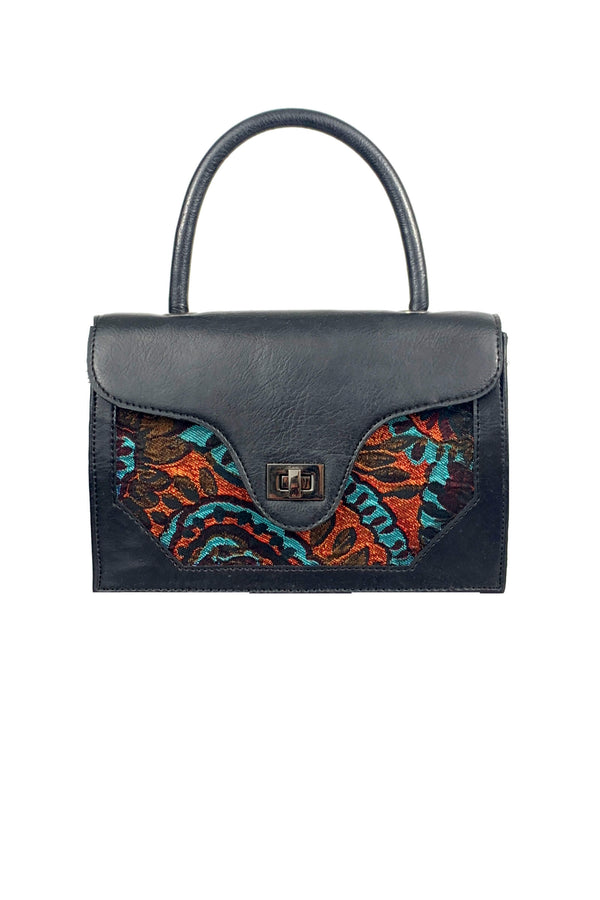 SC3 | nano tote scrabag: recycled vegan leather and paisley brocade