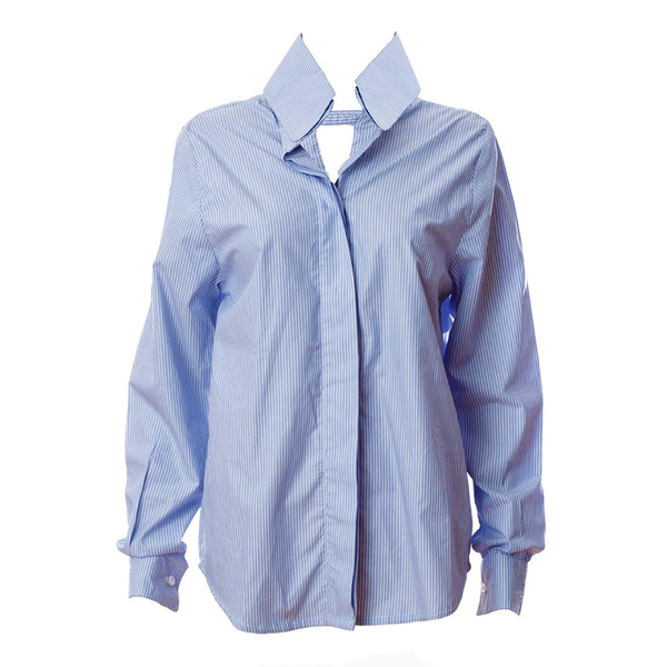 SH2 | Oversized shirt in blue and white cotton