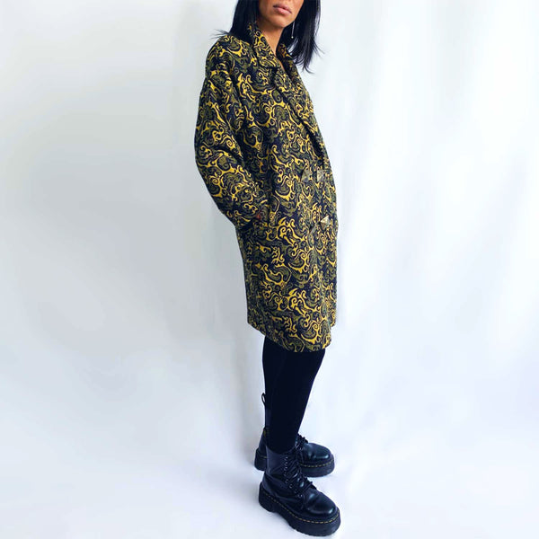 C6 | Oversized Cocoon Coat in Yellow and Blue Jacquard Wool