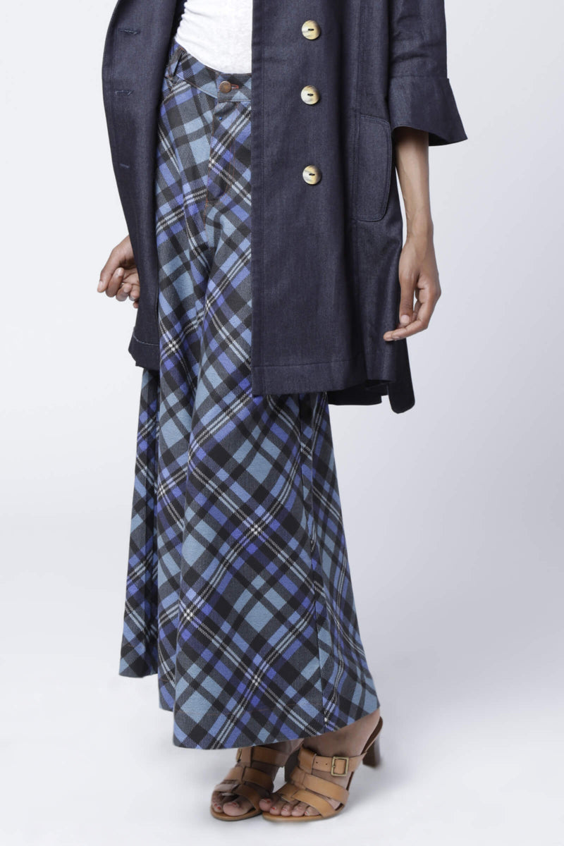 P6 | Palazzo pants: rescued plaid blue denim