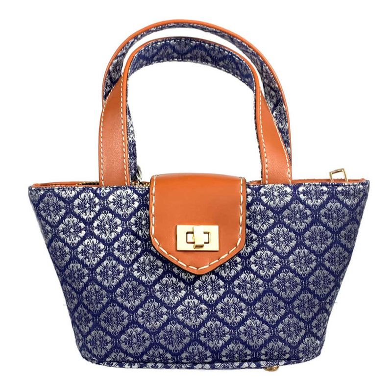 SC4 | Mini Panier ScraBag in blue, silver and recycled tan leather