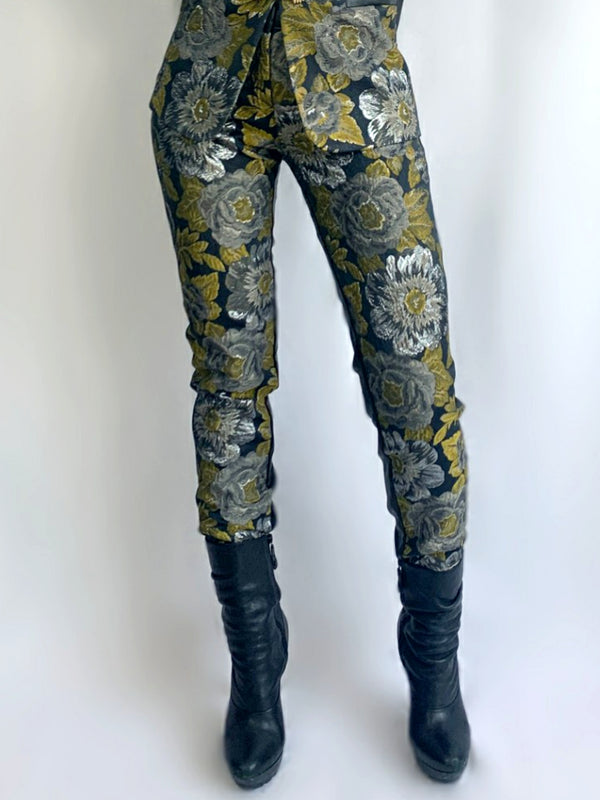 P1 | Leather and Brocade Slim Legs Pants in Green and Black