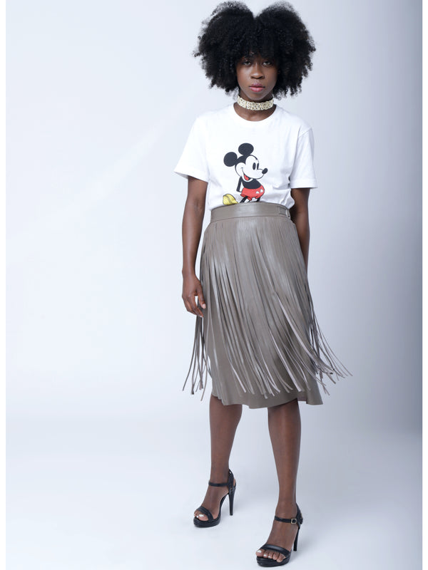 SK4 | Pocabombas skirt: rescued taupe leather