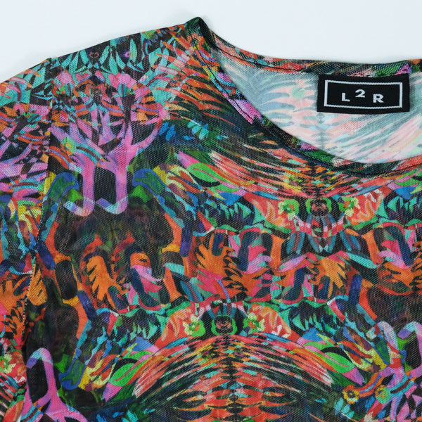 Bo1 | Printed Mesh Bodysuit in Multicolore Abstract Print
