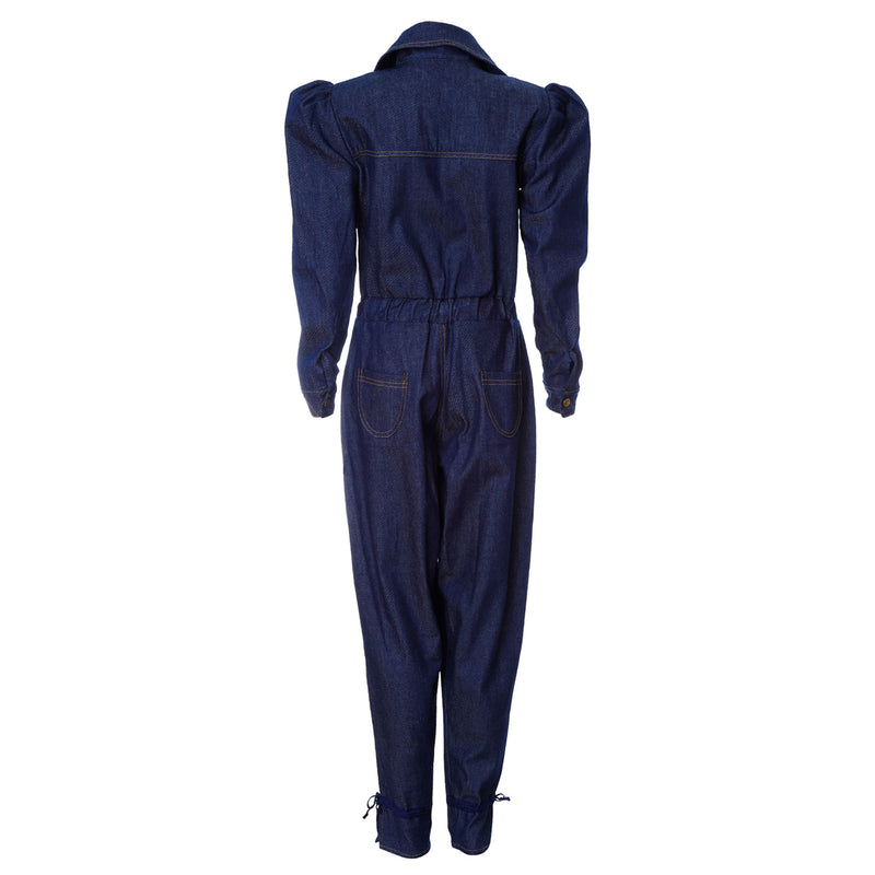 O1 | Puff-Sleeve Jumpsuit in Navy Blue
