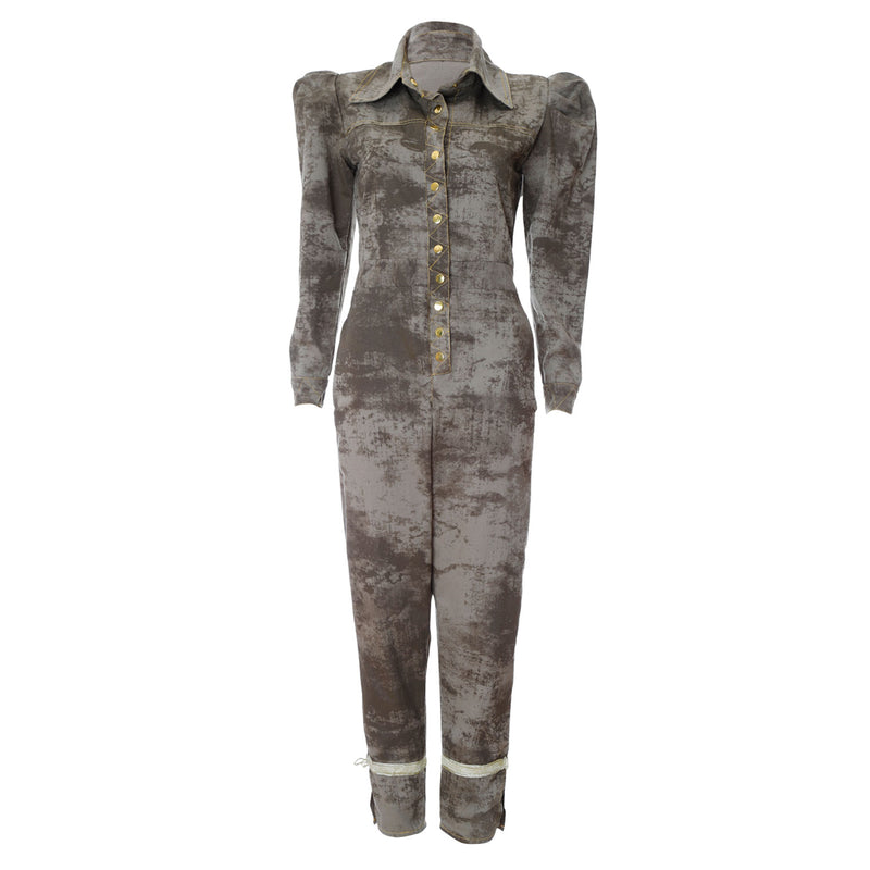 O1 | Puff-Sleeve Jumpsuit in Desert Storm Green