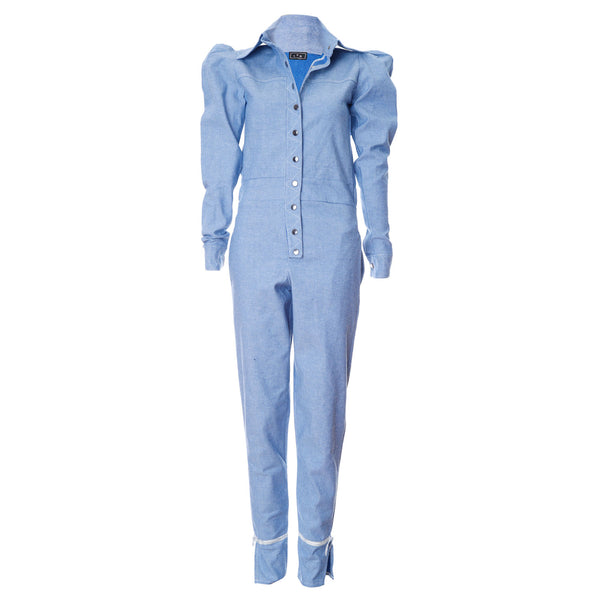 O1 | Puff-Sleeve Jumpsuit in Sky Blue