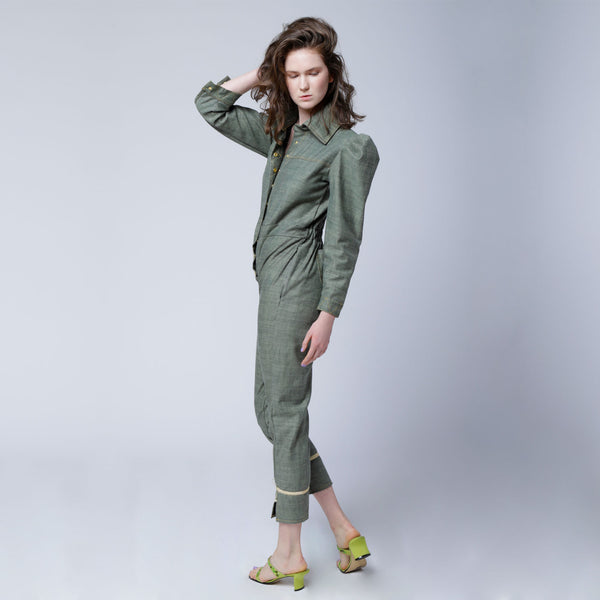 O1 | Puff-Sleeve Jumpsuit in Utilitarian Green
