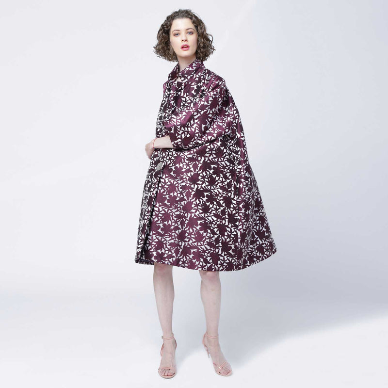 C4 | Oversized Opera Coat in Purple and White