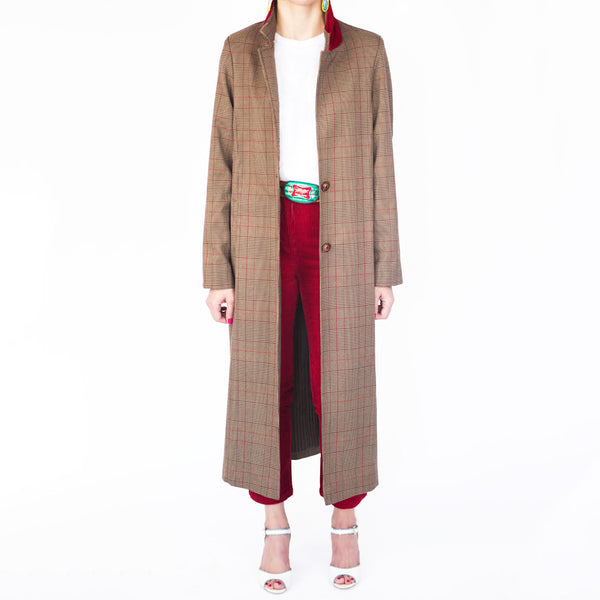 C1 | Relaxed Tailored Coat in Brown and Red Checked Wool