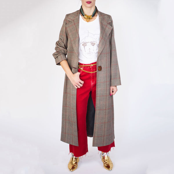 C1 | Relaxed Tailored Coat in Brown and Red Prince of Wales Wool