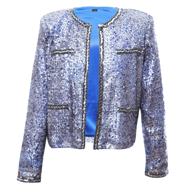 J1 | Sequins over Mesh Jacket in Silver