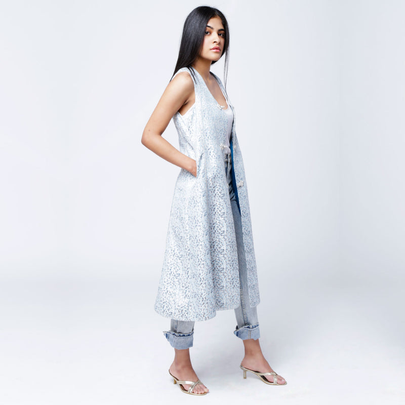 V1 | Sultana Long Vest in Light Blue and Silver Brocade