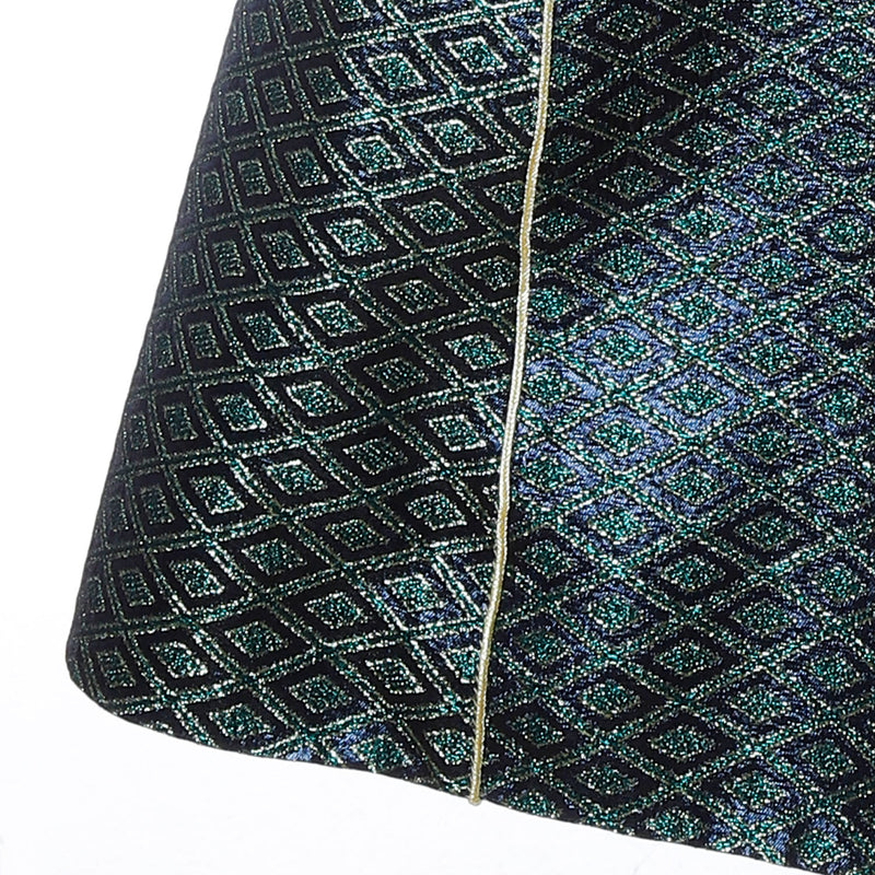 V1 | Sultana Long Vest in Green and Gold Brocade