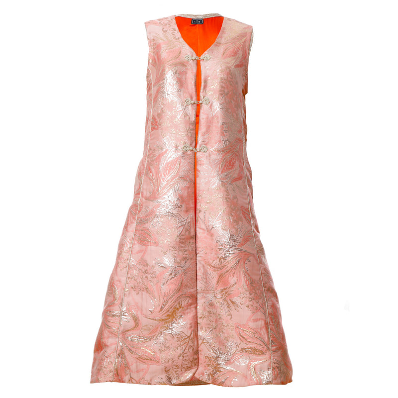 V1 | Sultana Long Vest in Orange and Gold Brocade