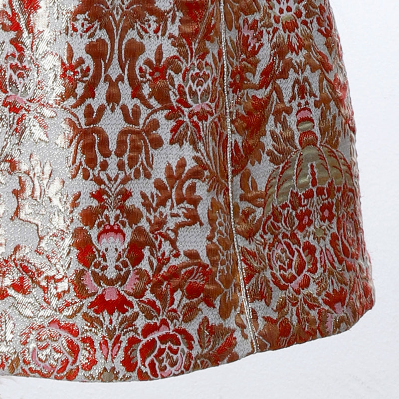 V1 | Sultana Long Vest in Red and Gold Brocade