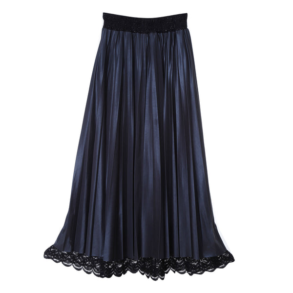 Sk3 | Super Pleated Layered Midi Skirt in Black