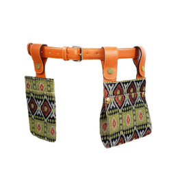 Sc1 | Double Belt Bag with Removable Pouches in Green African Print