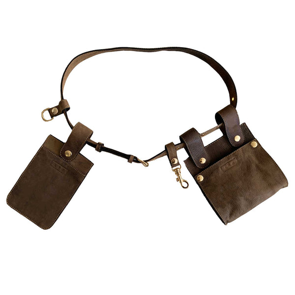 Sc1 | Zero Waste Double Belt Bag with Removable Pouches in Distressed Brown