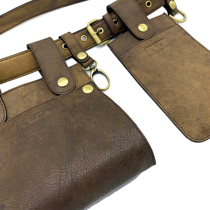 Sc1 | Double Belt Bag with Removable Pouches in Distressed Brown