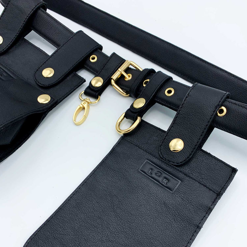 Sc1 | Zero Waste Double Belt Bag with Removable Pouches in Black and Gold