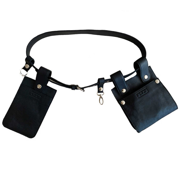 Sc1 | Zero Waste Double Belt Bag with Removable Pouches in Black and Silver