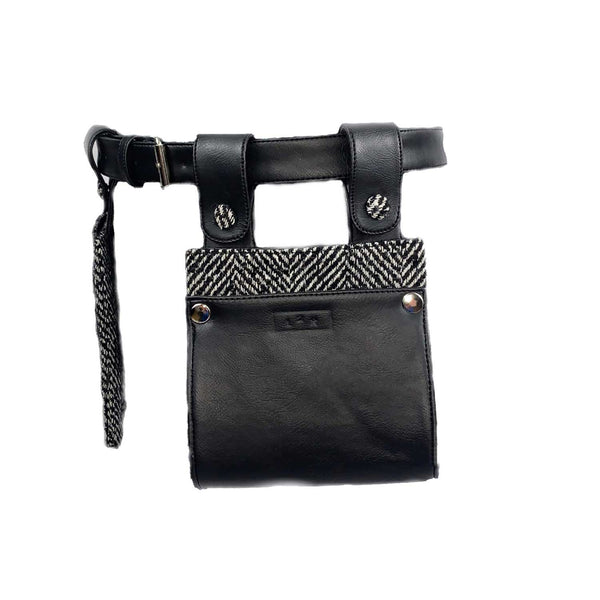 DOUBLE BELT BAG WITH REMOVABLE POUCHES in black and white wool