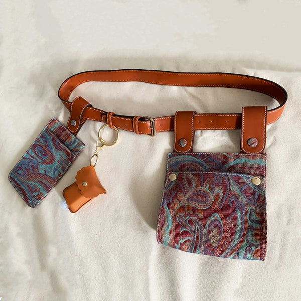 SC1 | DOUBLE BELT BAG WITH REMOVABLE POUCHES in Recycled in red and blue paisley print jacquard
