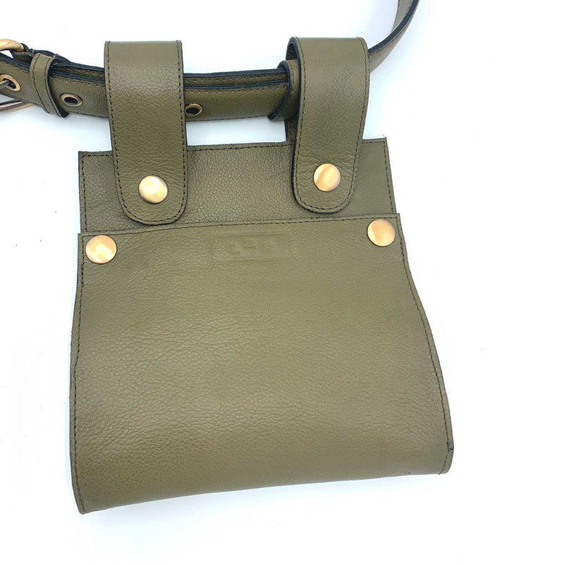 Sc1 | Zero Waste Double Belt Bag in Rescued Green Leather