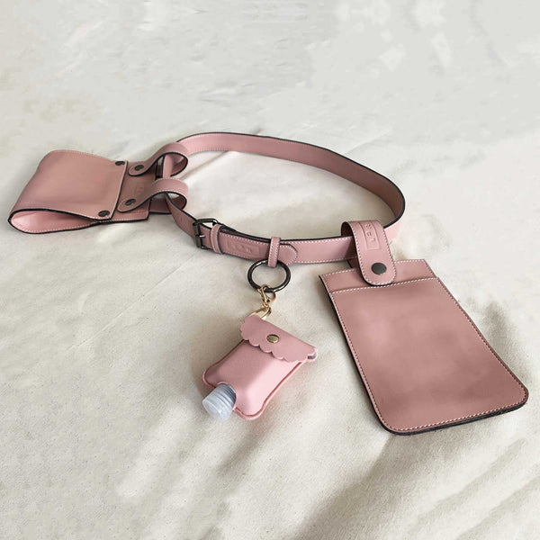 Sc1 | Zero Waste Double Belt Bag with Removable Pouches in Pink