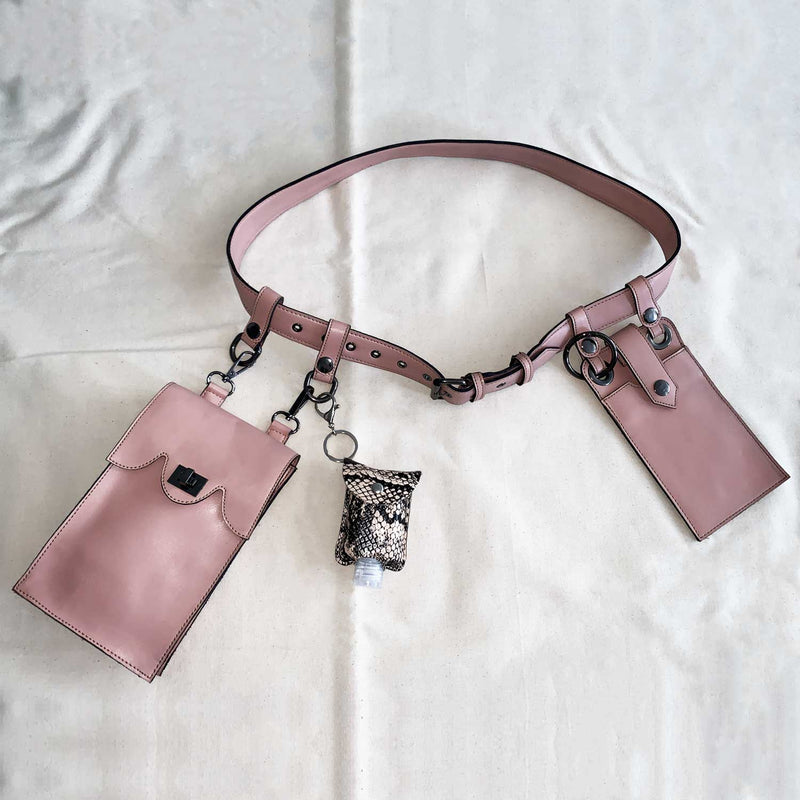 Sc1 | Zero Waste Double Belt Bag with Clip Pouches in Pink