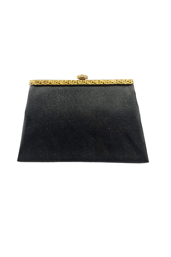 Envelope vintage bag in black and antique gold
