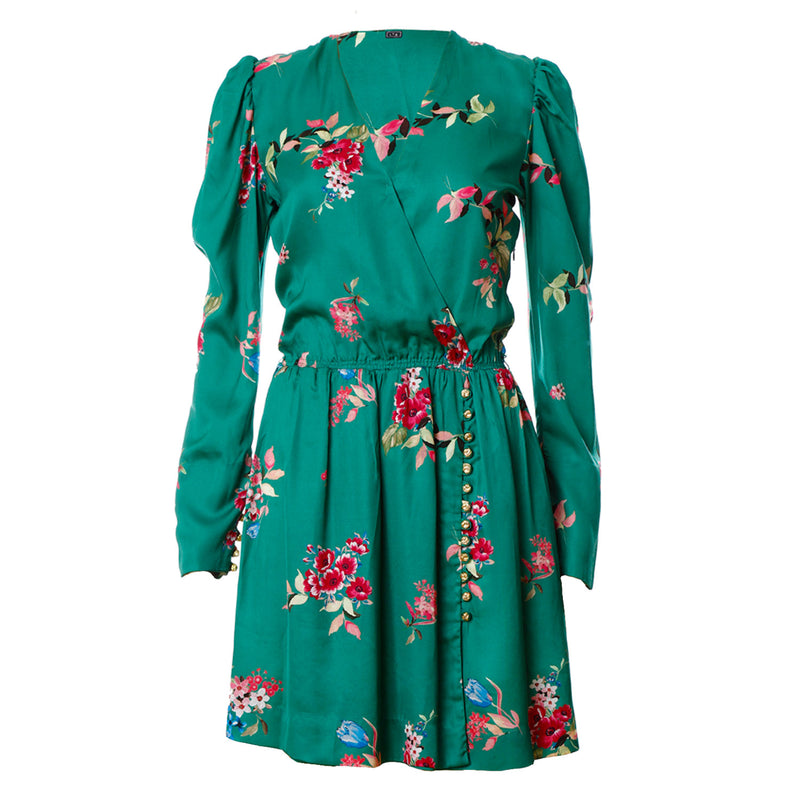 D5 | Wrap-effect Mini Dress in Floral Green