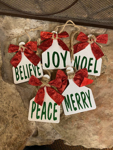 Christmas Word Tag Ornaments