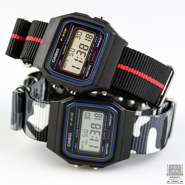 Casio F-91 Digital Watch with Nato strap