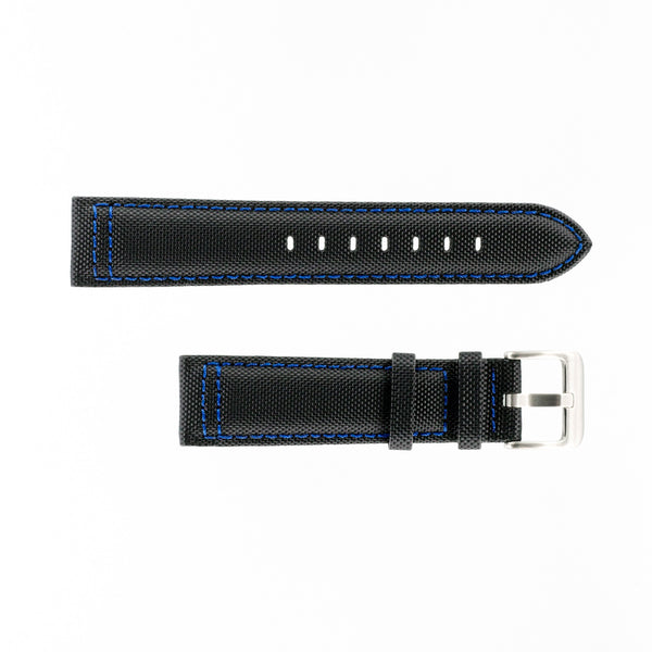 MKS Black Sailcloth Strap w/ Blue Stitching