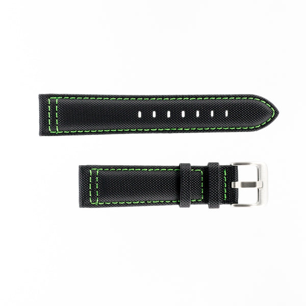 MKS Black Sailcloth Strap w/ Green Stitching