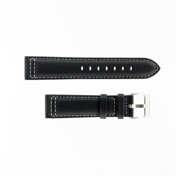 MKS Black Sailcloth Strap w/ Grey Stitching