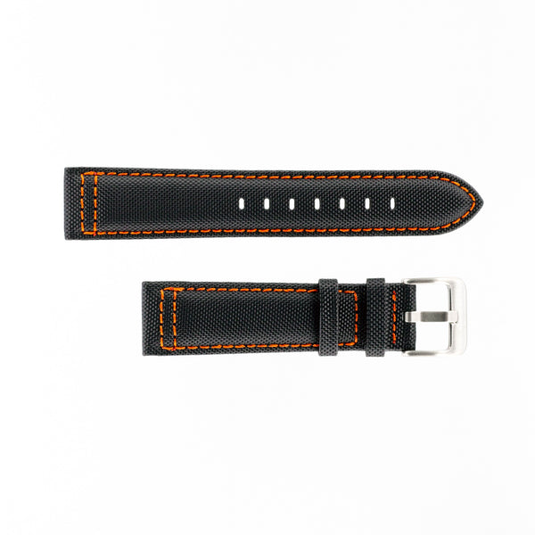 MKS Black Sailcloth Strap w/ Orange Stitching
