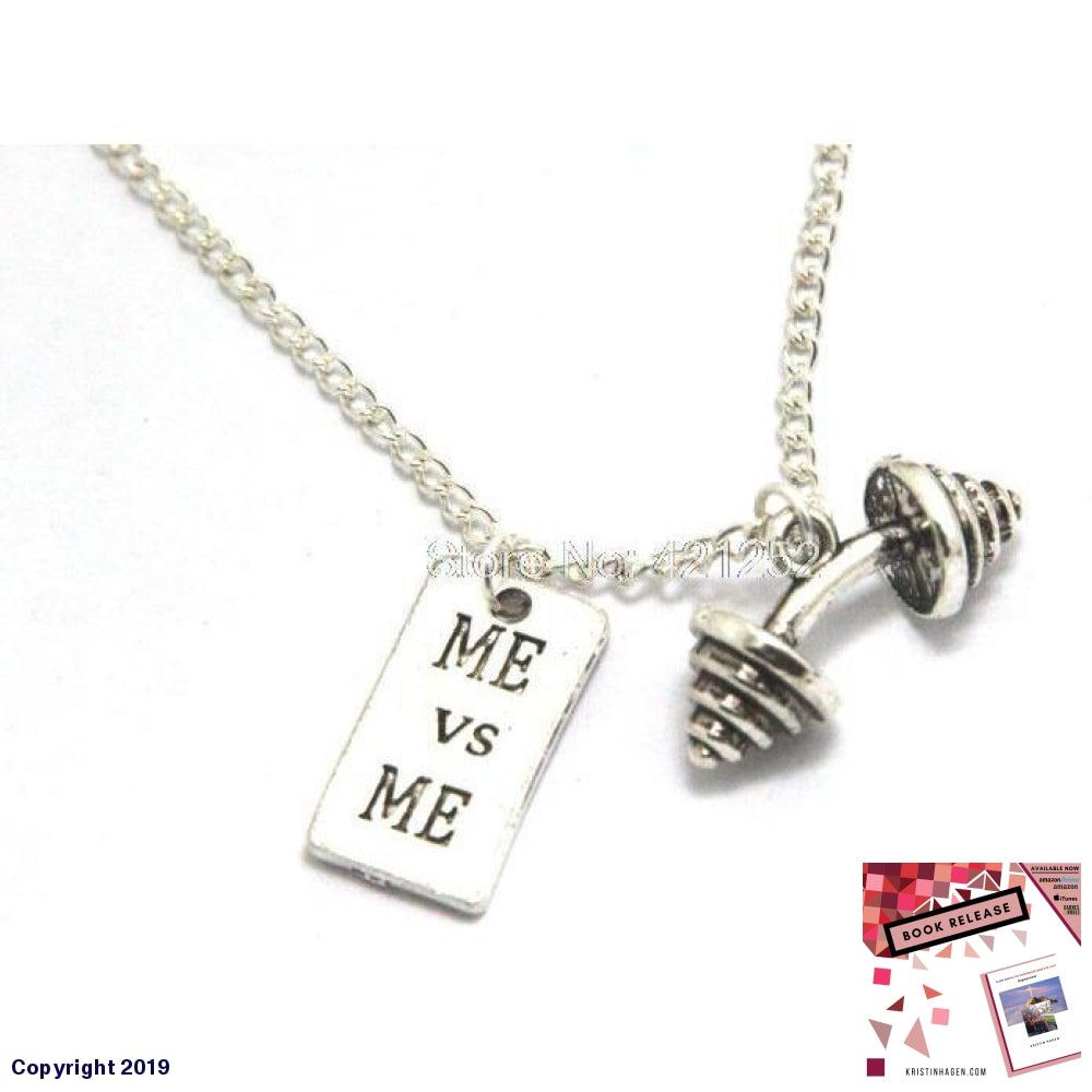 12Pcs/lot Motivational Necklace Barbell Jewelry Dumbbell Fitness Quote Inspiration Gym Jewelry
